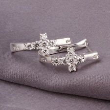 wholesale sterling solid silver fashion rhinestone cross hoop Earrings XLSE311