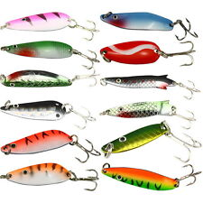 12PCS Lots Assorted Metal Spoon Fishing Lures Bait Salmon Bass With Treble Hooks