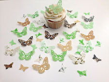 48 Edible Chocolate Lime Collection Butterflies Pre Cut Wafer Cupcake Toppers