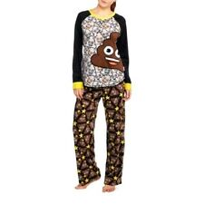 Womens 3X Emoji Poop Poo 2 Piece Fleece PAJAMAS Sleep Shirt Pajama SET
