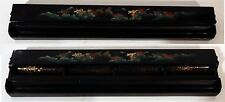 Vintage Japanese Black Lacquered Covered Desk Top Tidy / Pencil / Pen Caddy