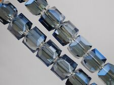 30pcs 6mm Cube Square Faceted Crystal Glass Charms Loose Beads Transparent Blue