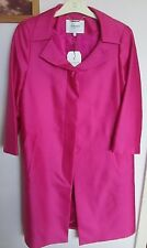 L.K. BENNETT NEW WITH TAGS FUCHSIA SILK MIX 3/4 SLEEVE COAT SIZE 10