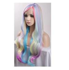 Women's Long Wavy Curly Lolita Color Mixed Cosplay Party Wig with Bangs+Wig Cap