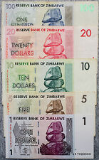 Set of 5 different Zimbabwe currency 2007 1-100 Dollars  nice circulated