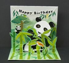3D Pop Up Greeting Card Pandas Happy Birthday Panda Bear Treasures New