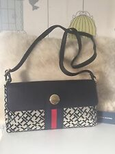 New Tommy Hilfiger Jacquard Black Envelope Crossbody Bag