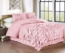 Chezmoi Collection 3-Piece Ella Waterfall Ruffle Comforter Set Full, Pink