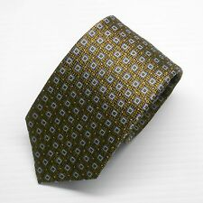 NWT $190 Battisti Napoli Tie in Brown with Blue Squared Pattern Made in Italy