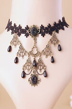 Victorian Necklace Costume Jewelry Gothic Crochet Choker Black Bronze Ornate NEW