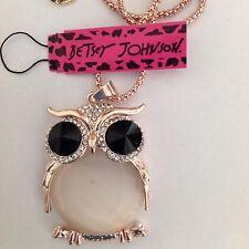 """WHITE OWL/Huge Black Eyes 28"""" Pendant Necklace Betsey Johnson GIFT BOX"""