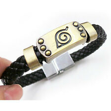 Hot Anime Naruto Bracelet Leaf Mark Black Leather Wristband Cosplay Fan Bangle