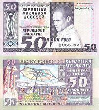 Madagascar 50 Francs 10 ariary 1974 1975 P-62 NEUF UNC