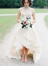 Latest Fashion High Low Wedding Dresses Short Sleeve Bridal Gowns Custom Size