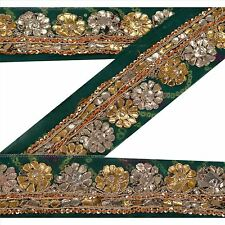 Vintage Sari Border Antique Hand Beaded 1 YD Indian Trim Sewing Green Lace