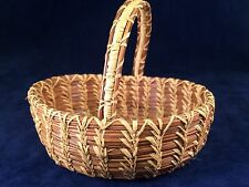 Vintage Handwoven Pine Needle Basket With Handle