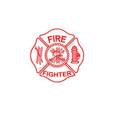 WHITE/RED MALTESE CROSS REFLECTIVE FIRE DECAL FIRE DEPT FIREFIGHTER STICKER