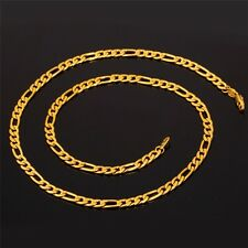 "REAL18K GOLD FILLED MENS/ LADIES UNISEX CHAIN NECKLACE 24"" FIGARO XMAS GIFT"