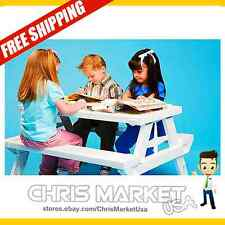 NEW Children's Picnic Table Folding Indoors Outdoors Furniture Kid's White
