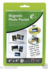 "3 PACK MAGNETIC PHOTO PICTURE PHOTOGRAPH HOLDERS POCKETS 6"" X 4"" FRIDGE MAGNETS"
