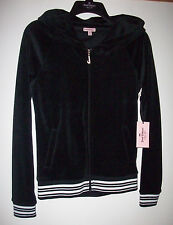 70% off NEW Juicy Couture Full Zip Hoodie BLACK Velour + silver & white Size XS