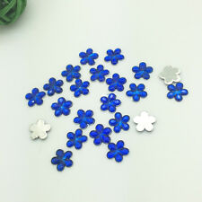 New Diy 100pcs 10MM Blue Flower Flatback Resin Scrapbooking for Phone/Craft D09