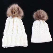 2PSC Mom&Newborn Baby Boy Girl Winter Warm Fur Pom Bobble Knit Beanie Hat UK Lot