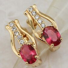 Classy Nice Ruby Red Gems Jewelry Rose Gold Filled Huggie Woman Earrings h2647
