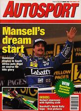 Autosport 5 Mar 1992 - South African Grand Prix Mansell, McLaren MP4/7, Wendling