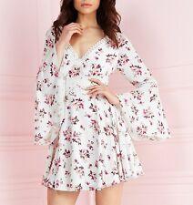 BNWT Lipsy Long Sleeve Floral Print Lace Trim Chiffon Skater Dress UK10 RRP £60