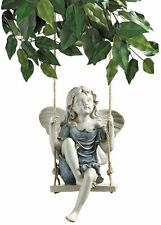 Lofty High Swinging Winged Fairy Garden Statue Magical Sculpture