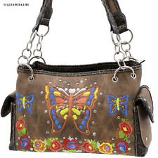 BFT BRN BUTTERFLY FLOWER WESTERN RHINESTONE PURSE CONCEALED CARRY HANDBAG