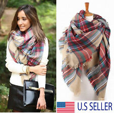 Blanket Oversized Tartan Scarf Wrap Shawl Plaid Cozy Checked Pashmina Women OUY