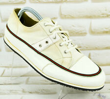 GUCCI Mens White Canvas Leather Trainers Shoes Sneakers Italy Size 8 UK 42 EU