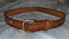 Women's Tooled Leather BELT 42 1/2 inches Fits M L Medium Large Horse Pony Motif