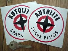 """AUTOLITE 4"""" Pair ROUND STICKERS Spark Plugs COBRA GT40 Thunderbird Ford Mustang"""