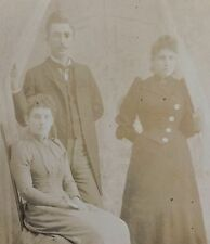 "ANTIQUE LATE 1800'S CABINET PHOTO OF TWO WOMEN AND A MAN 4.25"" X 6.5"""