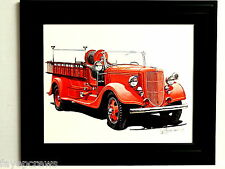 FIRE TRUCK PICTURE FIREFIGHTER FRAMED 8X10