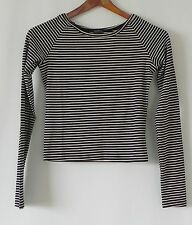 New Brandy Melville Crop top Long Sleeve Black/Ivory Striped Rayon/Cotton Size S