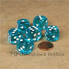 NEW 6 Transparent Teal Blue ROUNDED EDGE Dice Set RPG Bunco Game D6 16mm