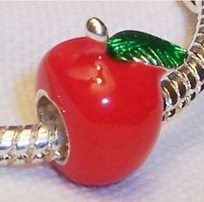 Apple Red Green Enamel Fruit Food Teacher Gift Bead fits European Charm Bracelet