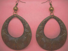 C1014 antique-copper tone big hollow water drop earrings hot sell jewelry