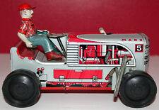 "MARX TIN 8"" LONG LITHO TRACTOR W/ON OFF SWITCH & TIN LITHO DRIVER WORKING TOY"