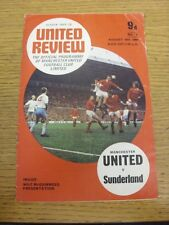 30/08/1969 Manchester United v Sunderland  (Creased, Folded, Worn, Token Removed