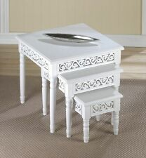 3 PC. FLORET CHIC SHABBY WHITE NESTING END ACCENT SIDE TABLES TRIO NEW~10016136