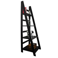BLACK 4 Tier High Gloss Ladder Bookcase Bookshelves Freestand Storage Shelf Unit
