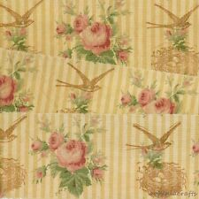 vintage hand made trim bird nest yellow roses rubber stamped ribbon 10 891