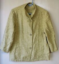COLDWATER CREEK WOMENS CHARTREUSE JACKET 3 BUT FRT POCKETS ¾ SLEEVES SZ L