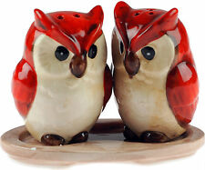 Ceramic Salt And Pepper Red Owl Christmas Birds Novelty Festive Cruet Set