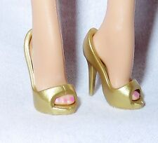SHOES ~ LOOK BARBIE DOLL MODEL MUSE PALE MUTED GOLD PEEP TOE PUMPS HIGH HEEL